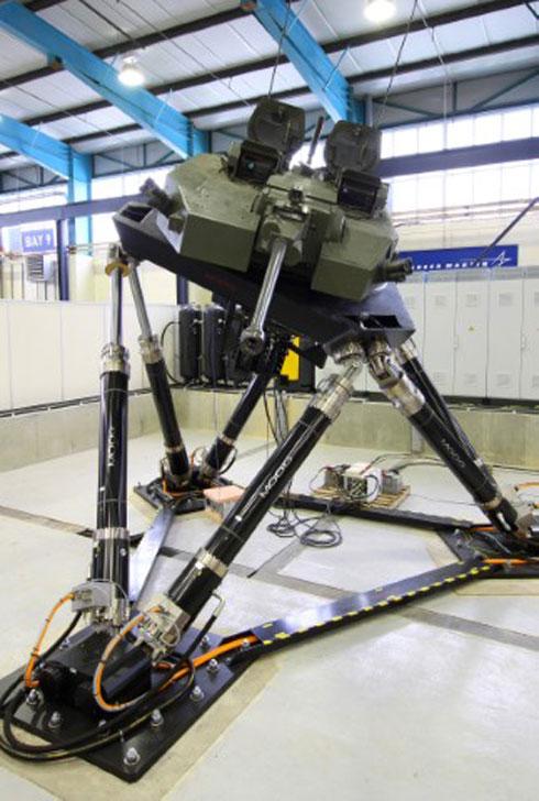 Das Bewegungsplattformsystem von Moog im Betrieb bei Lockheed Martin (GB)